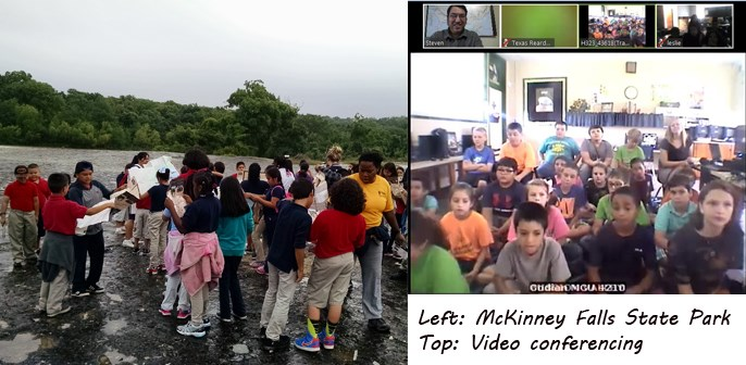 children at a state park and children video conferencing