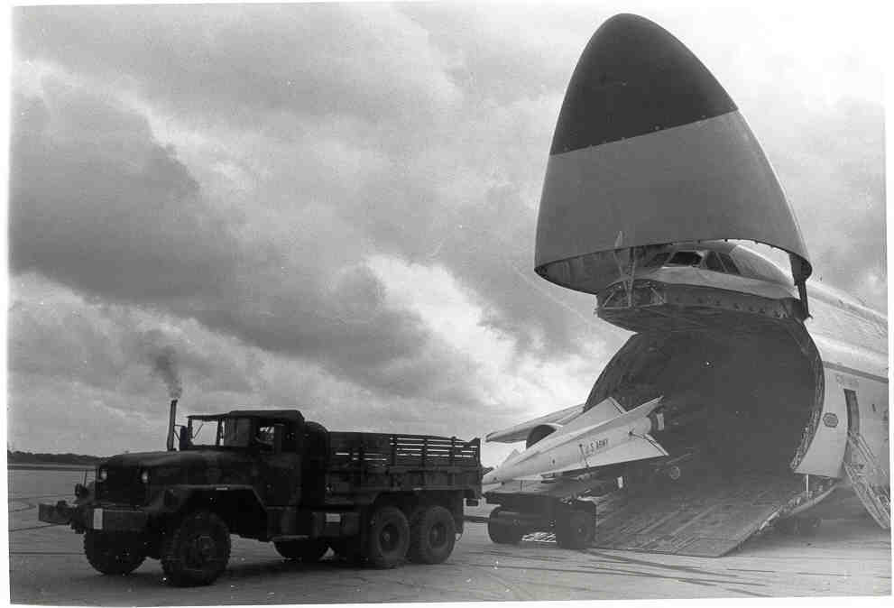 Nike Hercules Unloading in 1962 during the Cuban Missile Crisis. Photo: U.S. Army.