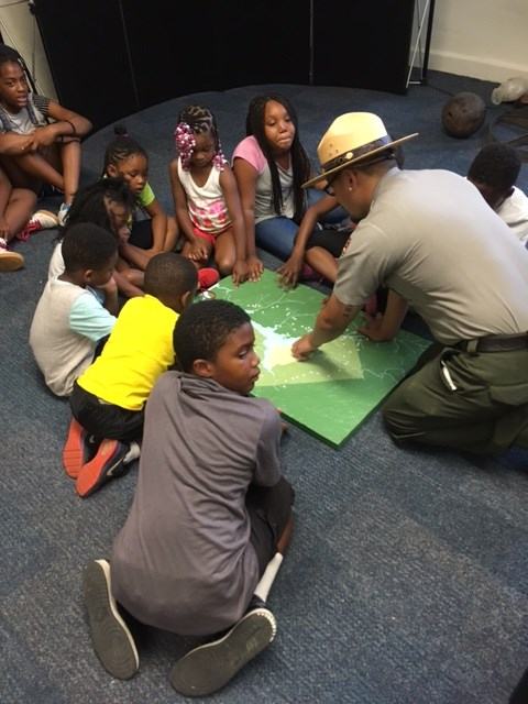 Children with Park Ranger at Fort Dupont