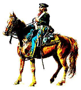 Dragoon soldier on horseback