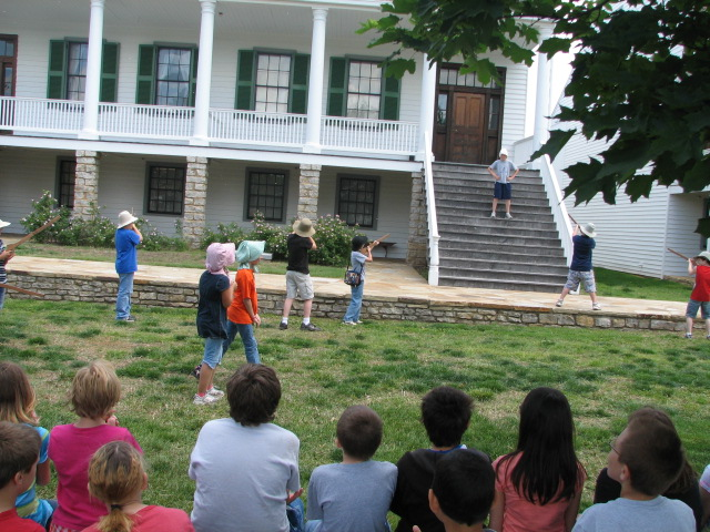 Students play acting a Bleeding Kansas program