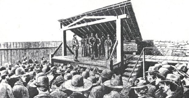 drawing of gallows showing execution of Cherokee Bill with a large crowd in attendance