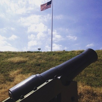 Cannon and U.S. Flag at Fort Sumter