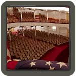american flag and theatre seats
