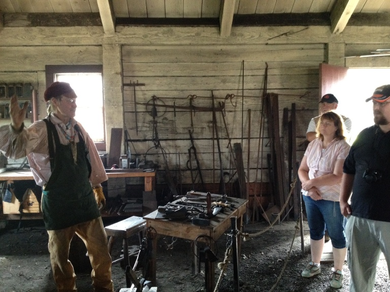Dennis Torresdal demonstrates blacksmithing methods