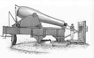Drawing of the loading procedure of the Rodman Cannon