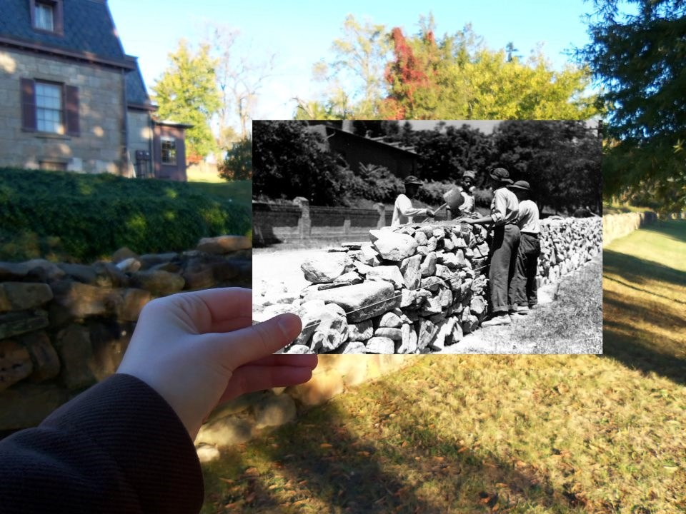Historic photo of Civilian Conservation Corps reconstructing a portion of the Stone Wall at Fredericksburg held against modern landscape