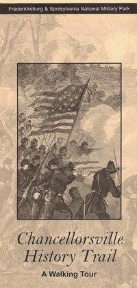 Chancellorsville History Trail brochure front; soldiers firing forward with flag on brown paper