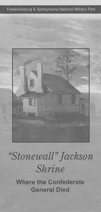 Jackson Shrine brochure cover; image of plantation office building, white, wood-sided building with two chimneys