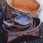 Birch bark baskets and wooden spoons.