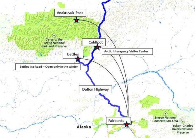 A map showing access routes to Gates of the Arctic National Park & Preserve