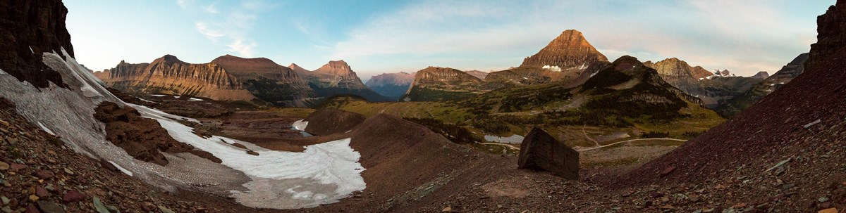 A panoramic view of the Logan Pass Area from below Clements Mountain.