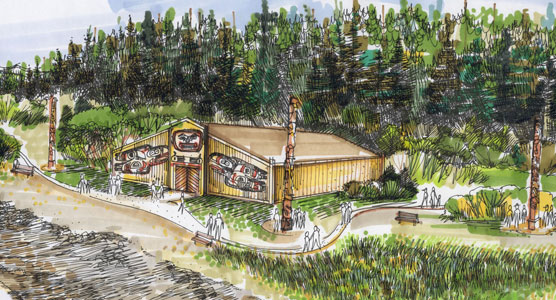 Artist rendition of the future tribal house in Bartlett Cove.