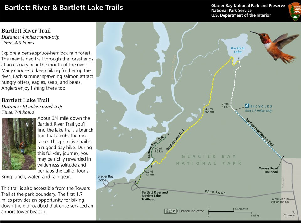 Bartlett Cove Trails Map. This image depicts the general routes of the Bartlett River Trail and Bartlett Lake Trail.