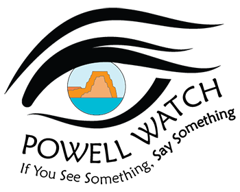 Logo for the Powell Watch Program with illustration of eye