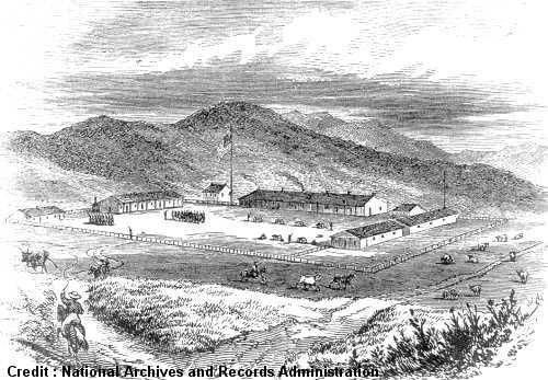 Artist's illustration of the Presidio in 1850.