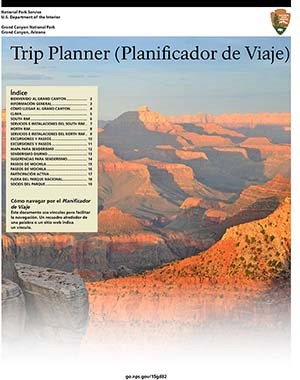 cover of Spanish language Trip Planner shows sunset scene of Grand Canyon landscape