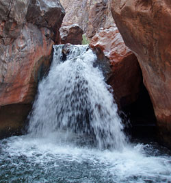 A 15 feet (5 m) waterfall located a few hundred yards (meters) above the Colorado River