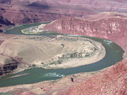 Colorado River bowing around the Unkar Delta.