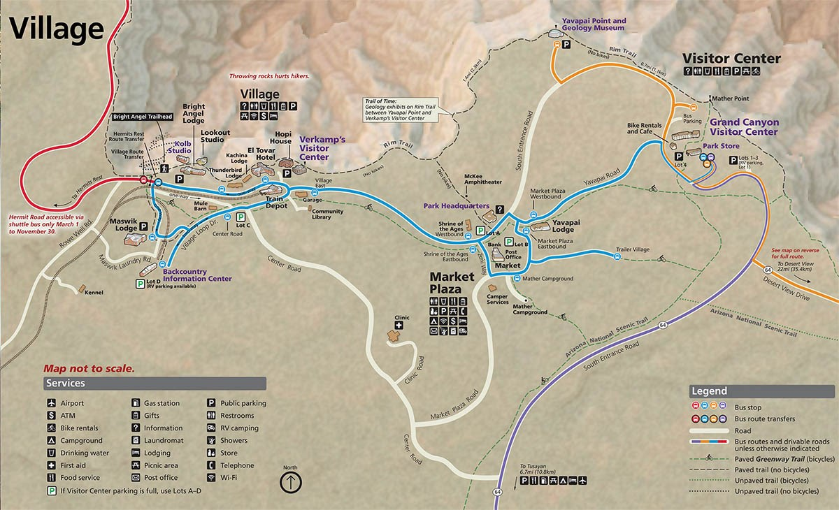 Map of Grand Canyon Village showing the main visitor facilities and colored lines corresponding to the colors of the 4 shuttle bus routes. Download the Accessible PDF file.