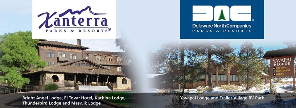 On the left: El Tovar Hotel and Xanterra logo, on the right Yavapai Lodge with Delaware North logo