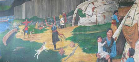 Mural Rendezvous-Gichi-Onigamiing 2006 by Ojibwe artist Carl Gawboy