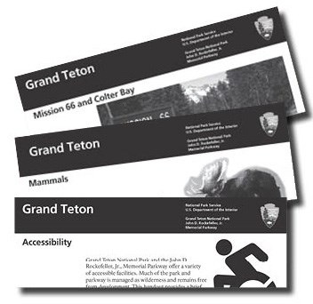 Assortment of site bulletins including accessibility, mammals, and Mission 66