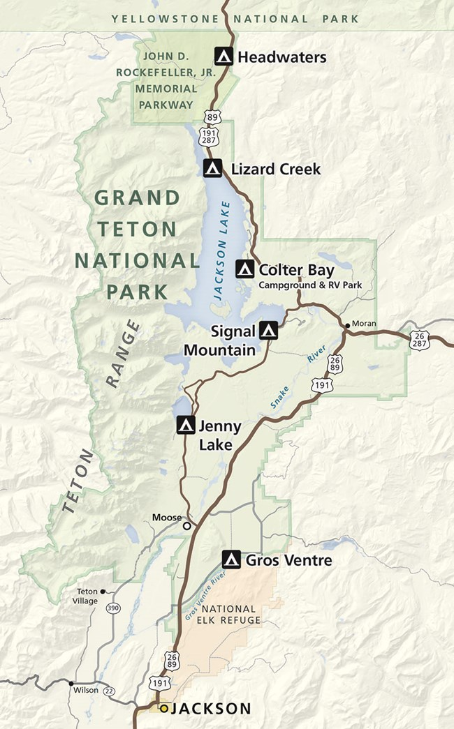 Map of Campgrounds in Grand Teton