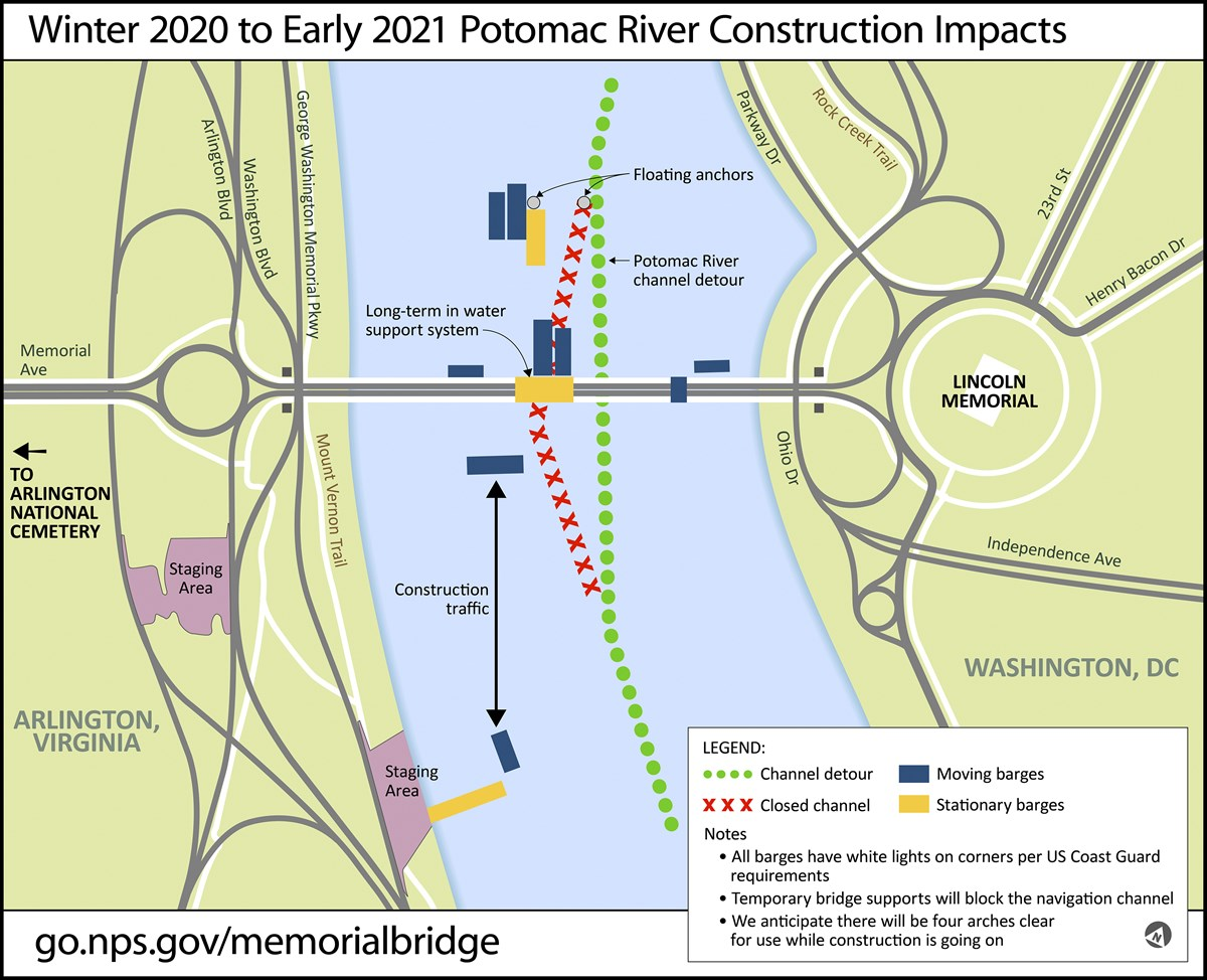 Barges will be moving in the Potomac River until work on Arlington Memorial Bridge is complete in early 2021.  Barges will move on the north and south sides of the bridge.  River users be alert and stay away from construction traffic.