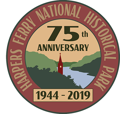 logo stating Harpers Ferry National Historical Park, 75th anniversary, 1944-2019