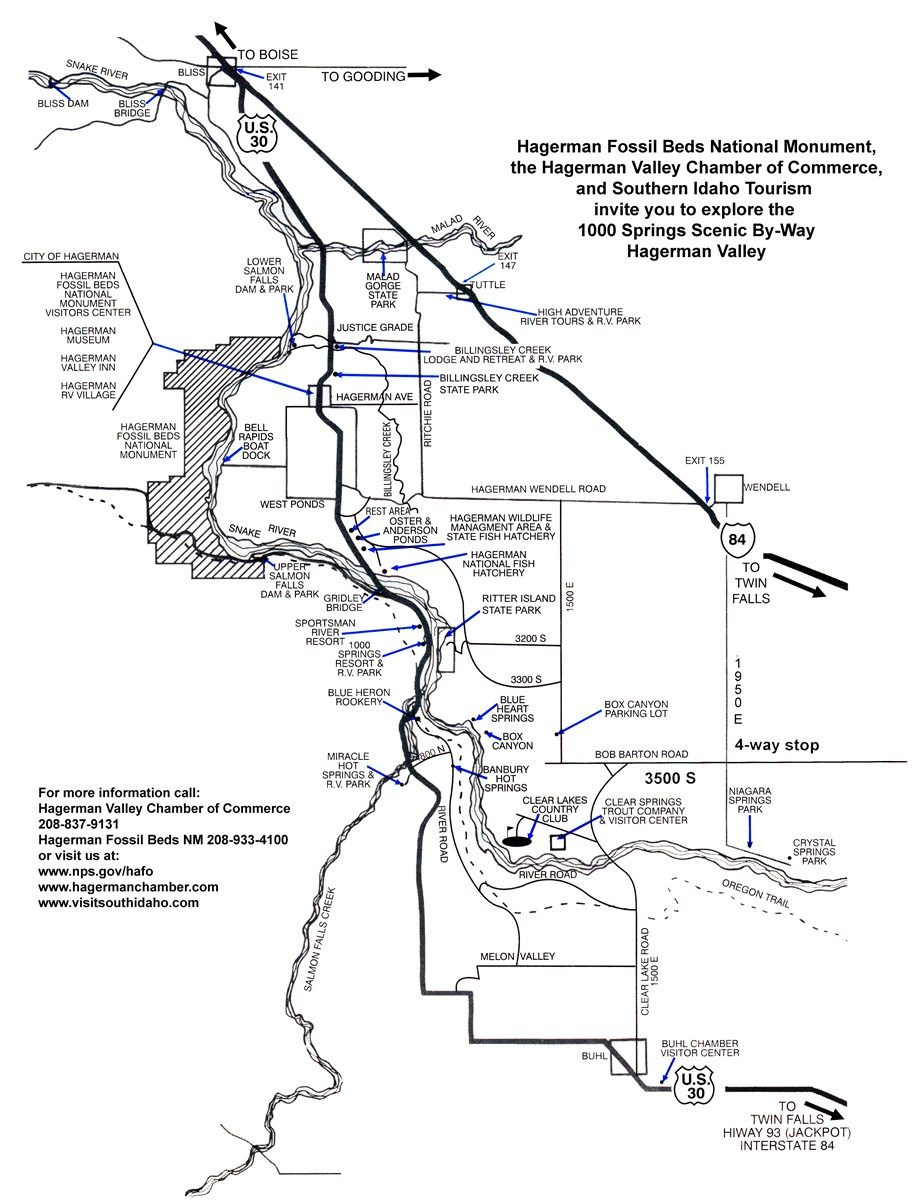 line map of area around Hagerman, ID, for driving