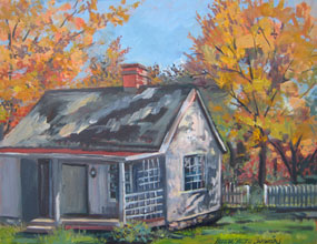 An oil painting of a small cottage among autumn foliage.