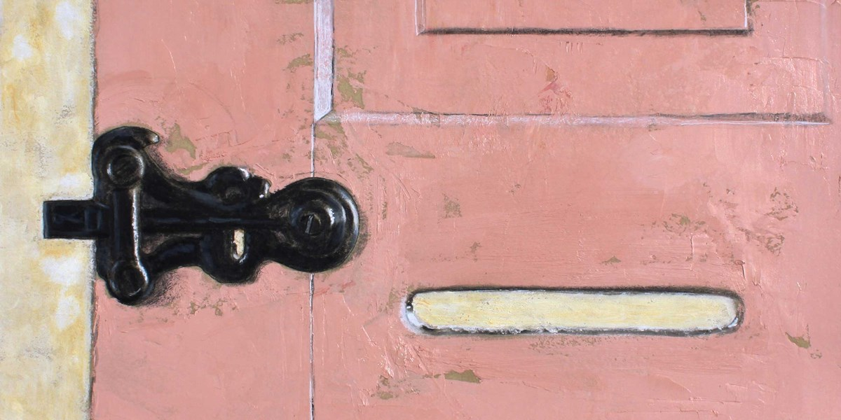 The latch and slot on an old folding wooden door rendered in colored pencil and oil paint.
