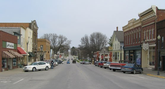 Commerical buildings on the historic main street of West Branch, Iowa.