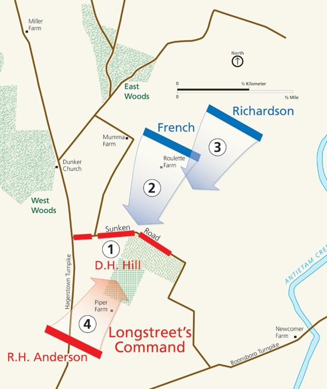 Map of the fighting at Bloody Lane