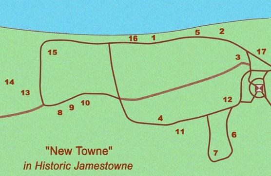 detail of map of Historic JamestowneTownsite with numbers corresponding to different waysides in New Towne