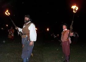 Living History Interpreters portraying Bacon's troops about to burn Jametown