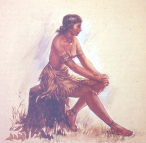 Sidney King painting of an adult Pocahontas.