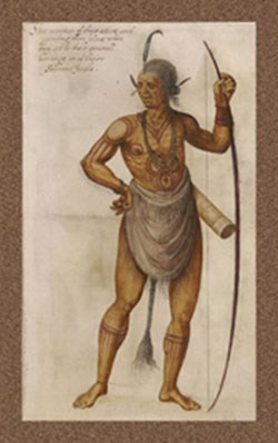How a Powhatan man might have looked based on a John White watercolor of other Algonquian-speaking people.
