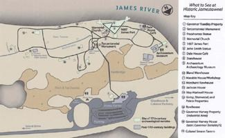 2007 site map of Historic Jamestowne