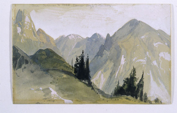 Thomas Moran Watercolor of Yellowstone