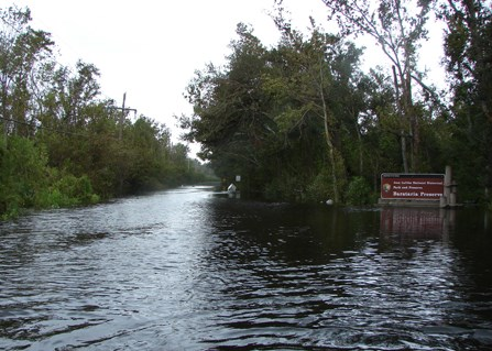 Image of Barataria Preserve entrance after hurricane with floodwaters covering road