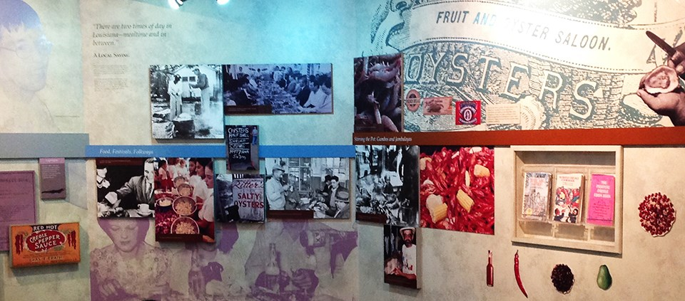 Exhibit wall about New Orleans food