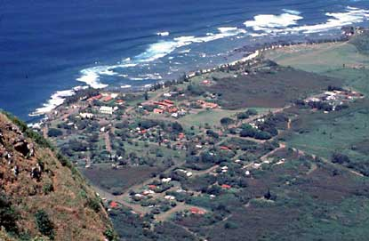 View of Kalaupapa Settlement from top of cliffs.