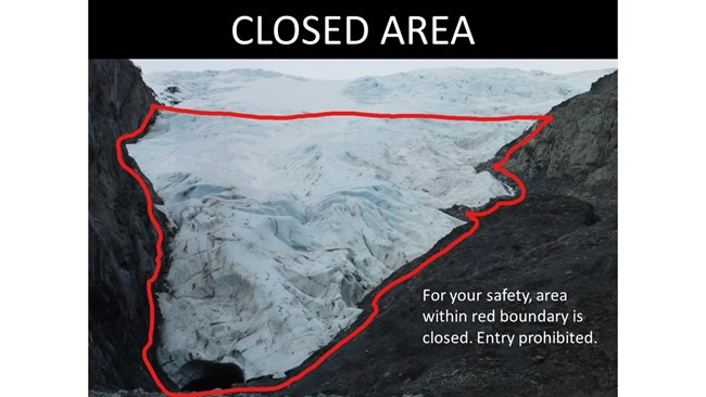 Image of Exit Glacier with closed area highlighted