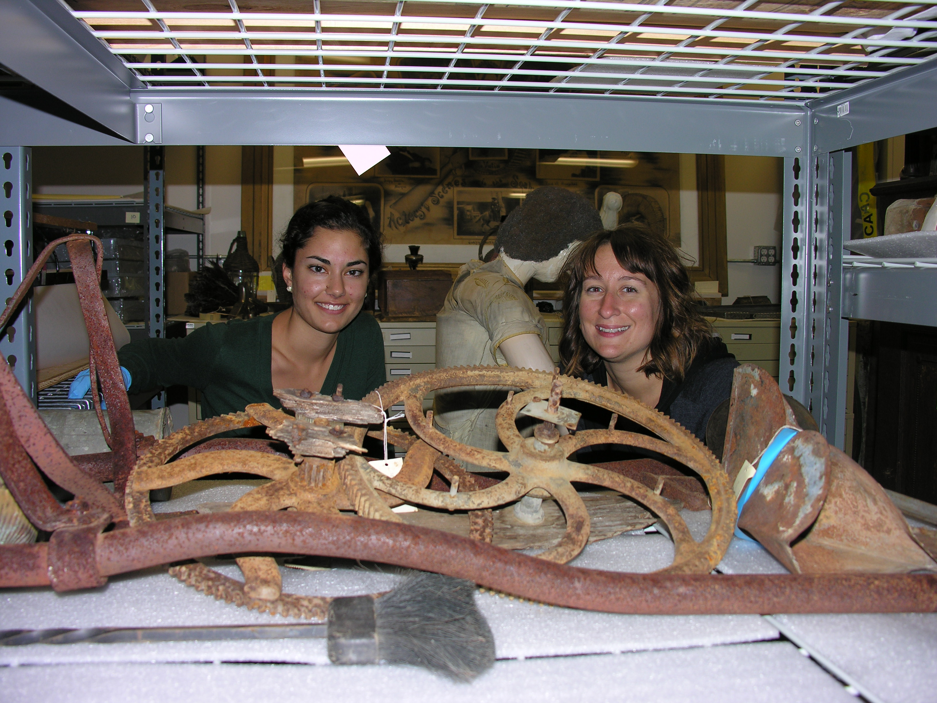 [Photo 5] Katie and I surrounded by artifacts in the Rapuzzi collection