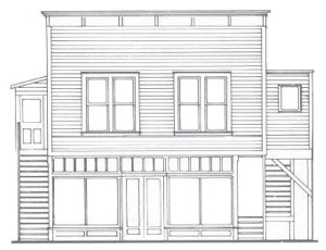 Line drawing of building with large lower windows and two flights of external stairs leading to a second storey.
