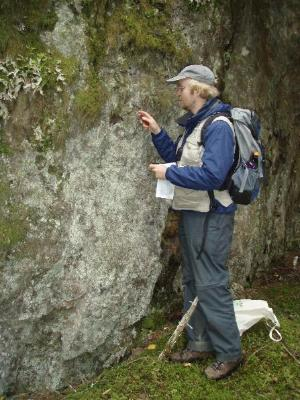 Researcher examines a lichen covered boulder