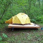 Tent on a backcountry tent platform