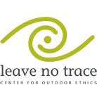 "Green swirl logo with text ""leave no trace: center for outdoor ethics"""